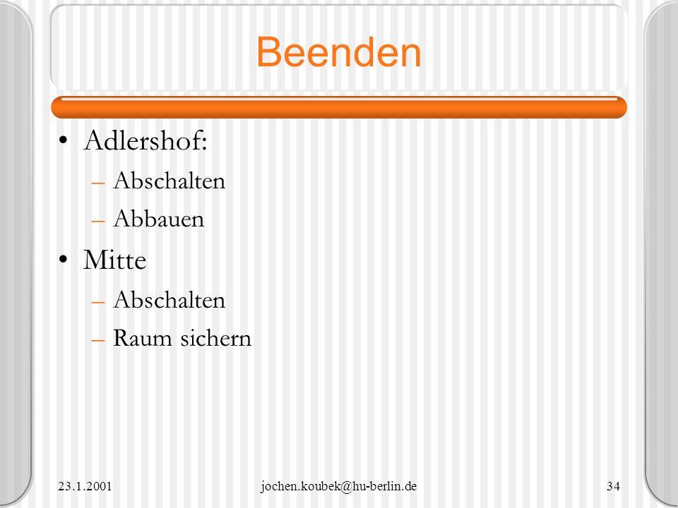 Beenden Adlershof: Mitte Abschalten Abbauen Raum sichern 23.1.2001