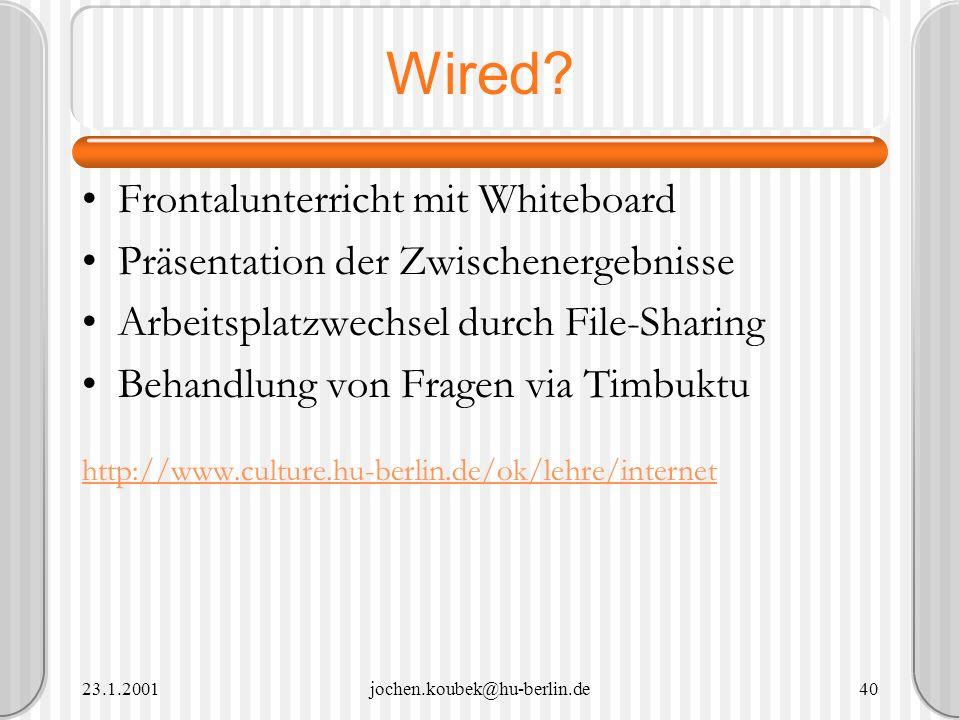 Wired Frontalunterricht mit Whiteboard