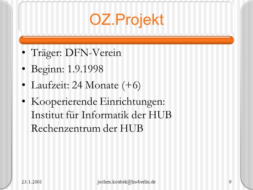 OZ.Projekt Träger: DFN-Verein Beginn: 1.9.1998