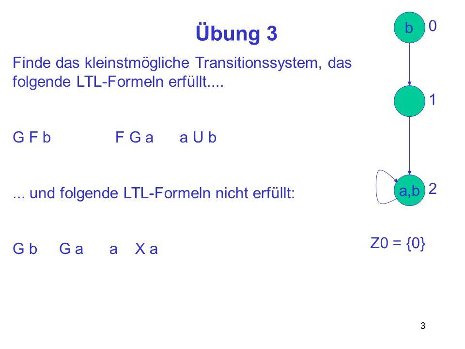 Übung 3 b Finde das kleinstmögliche Transitionssystem, das