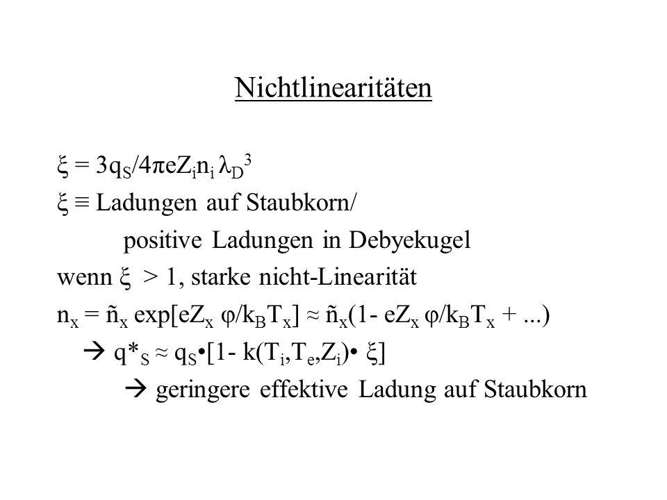 Nichtlinearitäten ξ = 3qS/4πeZini λD3 ξ ≡ Ladungen auf Staubkorn/