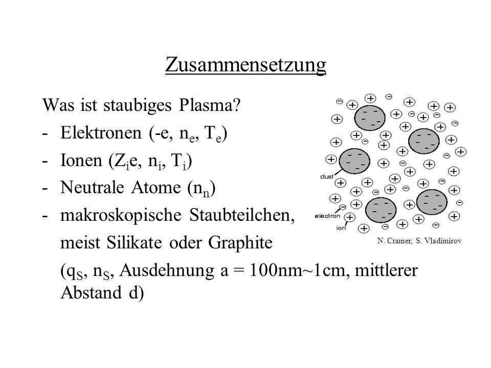 Zusammensetzung Was ist staubiges Plasma Elektronen (-e, ne, Te)