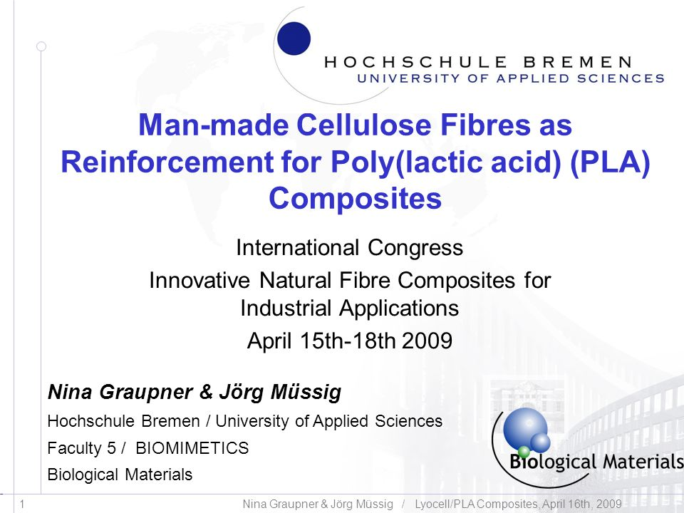 Man-made Cellulose Fibres as Reinforcement for Poly(lactic acid) (PLA) Composites