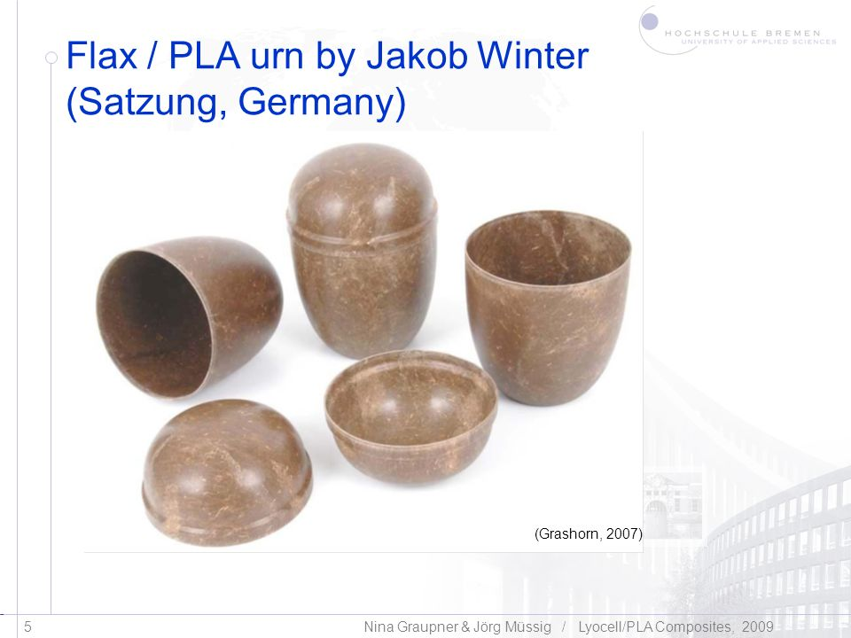 Flax / PLA urn by Jakob Winter (Satzung, Germany)