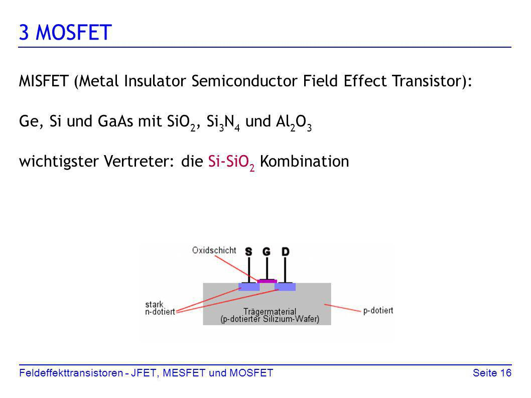 3 MOSFET MISFET (Metal Insulator Semiconductor Field Effect Transistor): Ge, Si und GaAs mit SiO2, Si3N4 und Al2O3.