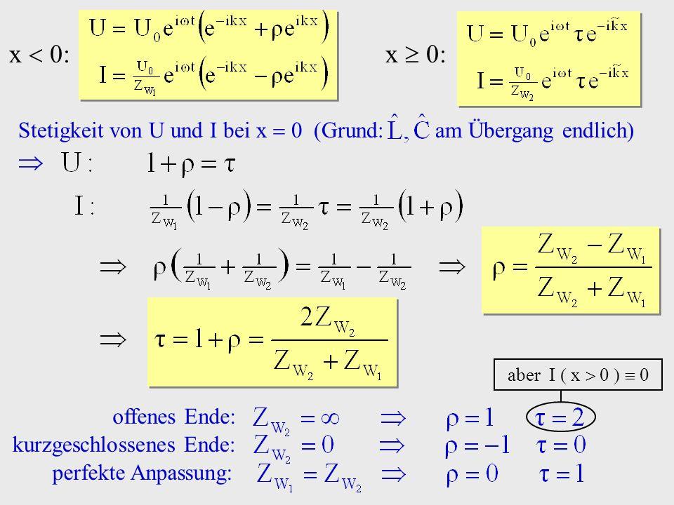x  0: x  0: Stetigkeit von U und I bei x  0 (Grund: am Übergang endlich)  aber I  x    