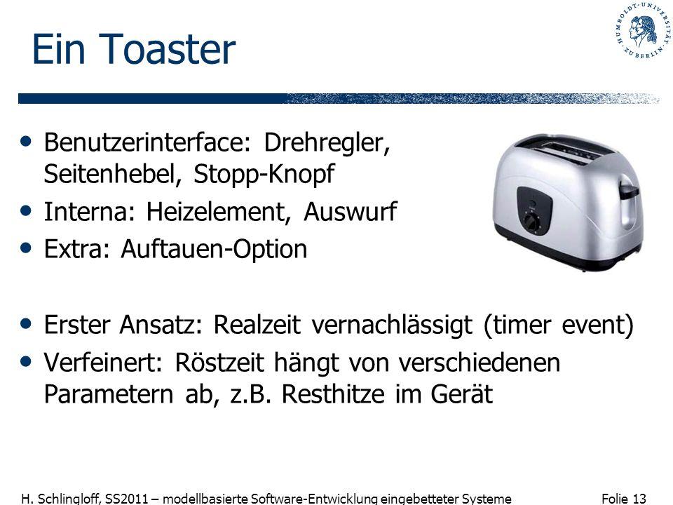 Ein Toaster Benutzerinterface: Drehregler, Seitenhebel, Stopp-Knopf