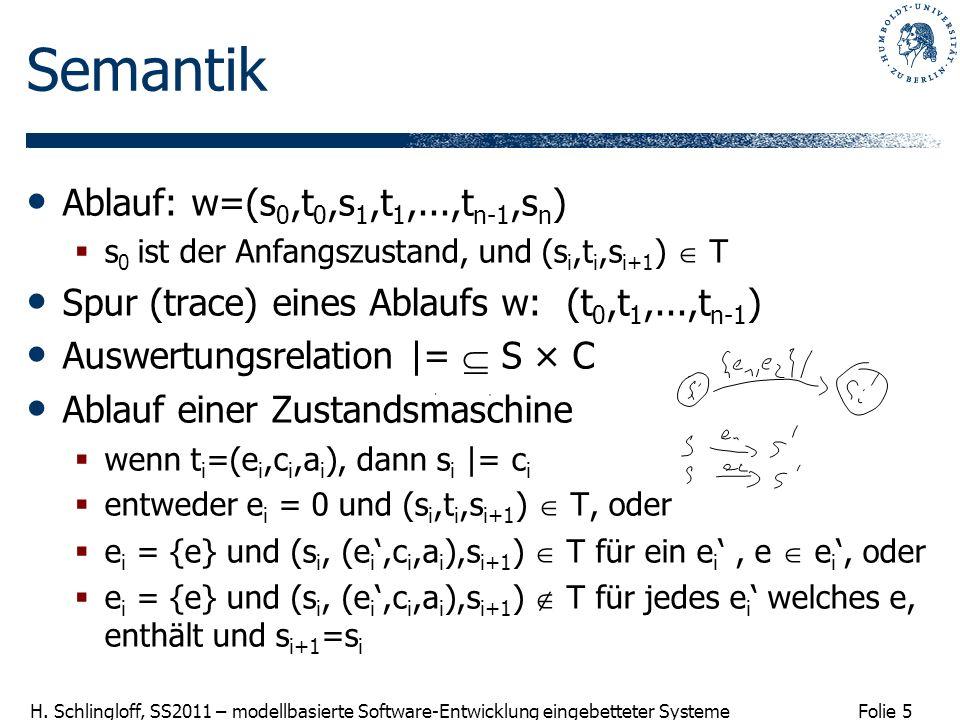 Semantik Ablauf: w=(s0,t0,s1,t1,...,tn-1,sn)