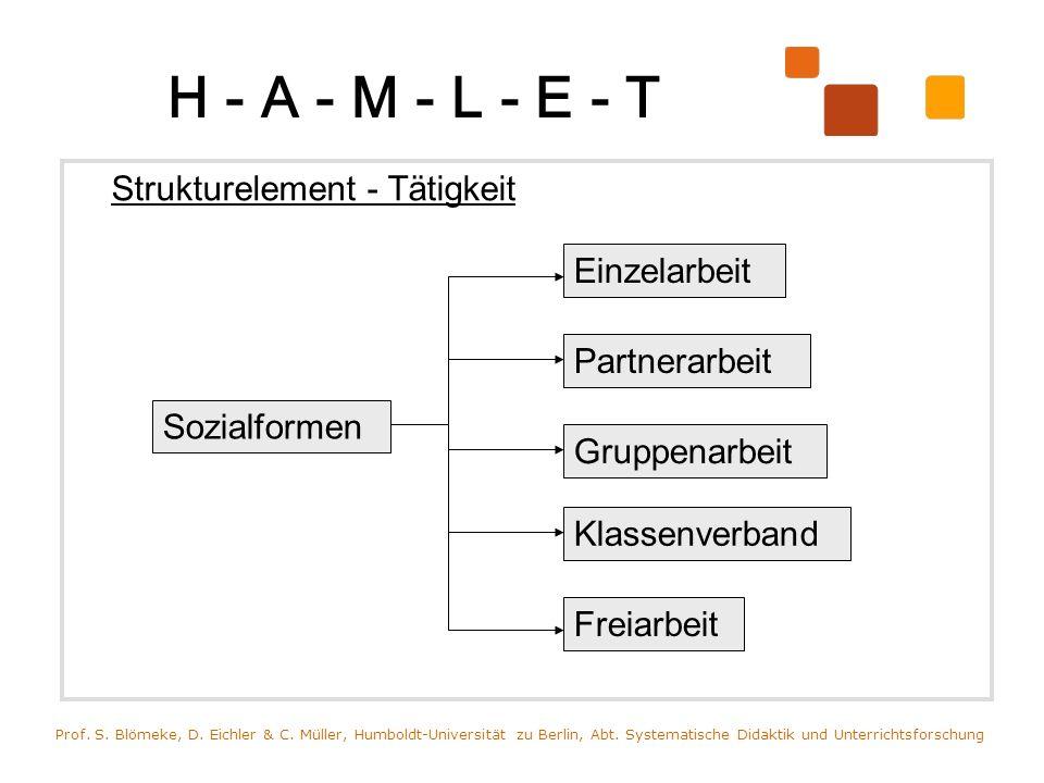 H - A - M - L - E - T Strukturelement - Tätigkeit Einzelarbeit
