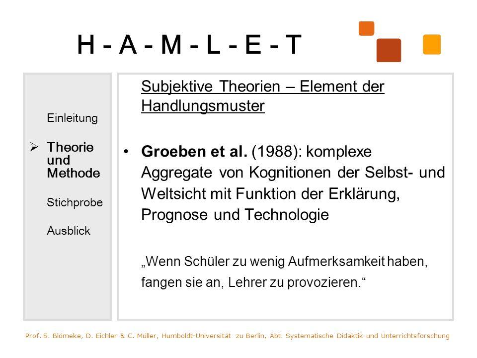 H - A - M - L - E - T Einleitung. Theorie und Methode. Stichprobe. Ausblick. Subjektive Theorien – Element der Handlungsmuster.