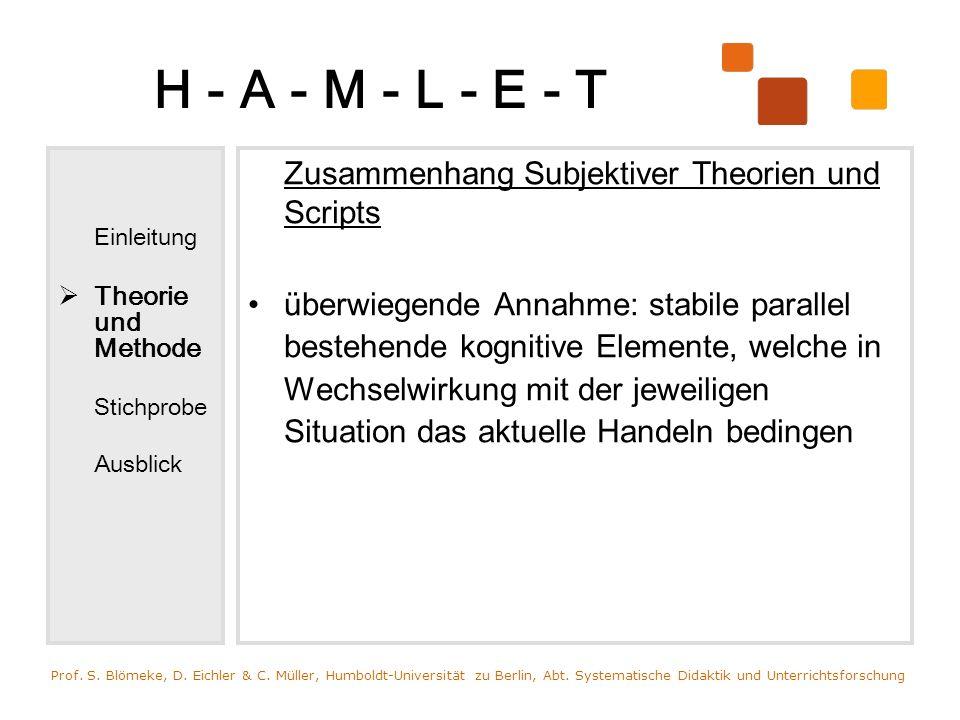 H - A - M - L - E - T Zusammenhang Subjektiver Theorien und Scripts