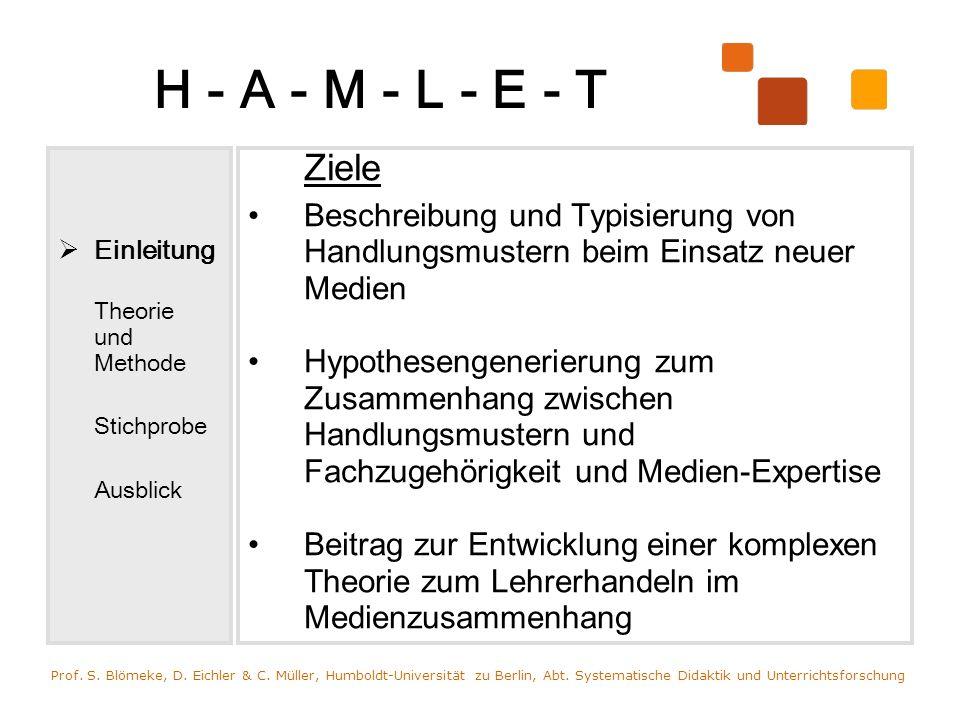 H - A - M - L - E - T Einleitung. Theorie und Methode. Stichprobe. Ausblick. Ziele.