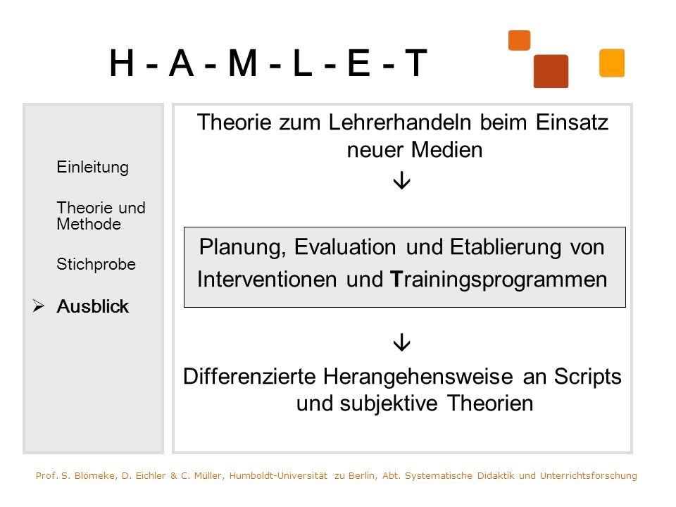 H - A - M - L - E - TEinleitung. Theorie und Methode. Stichprobe. Ausblick. Theorie zum Lehrerhandeln beim Einsatz neuer Medien.