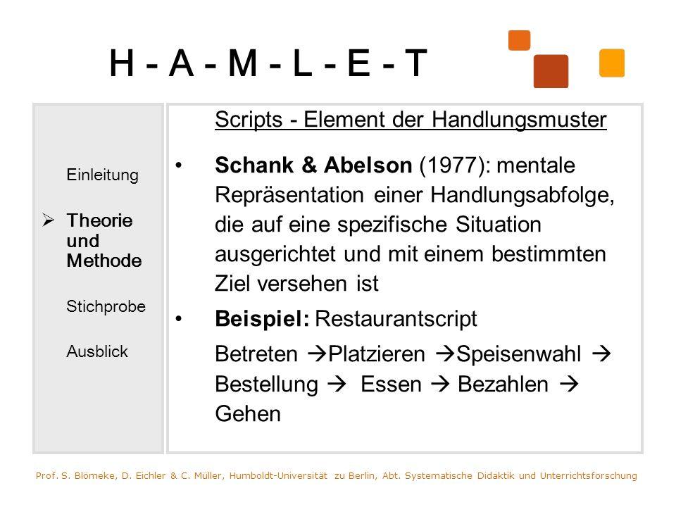 H - A - M - L - E - T Einleitung. Theorie und Methode. Stichprobe. Ausblick. Scripts - Element der Handlungsmuster.