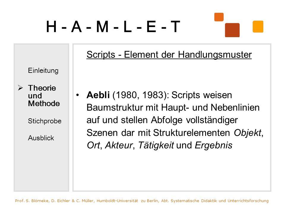 H - A - M - L - E - T Scripts - Element der Handlungsmuster