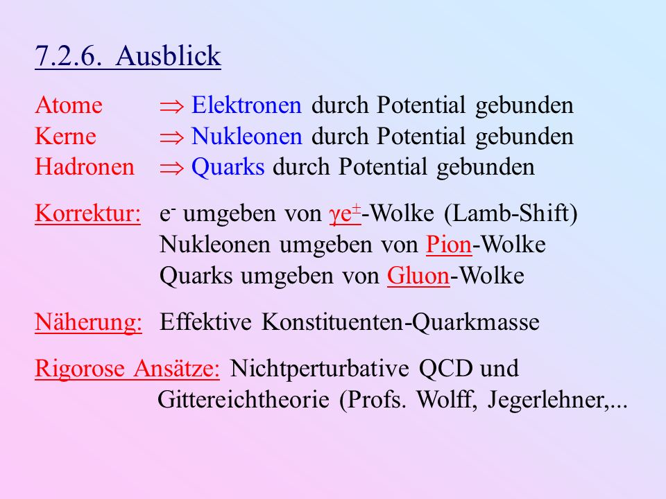 7.2.6. Ausblick Atome  Elektronen durch Potential gebunden