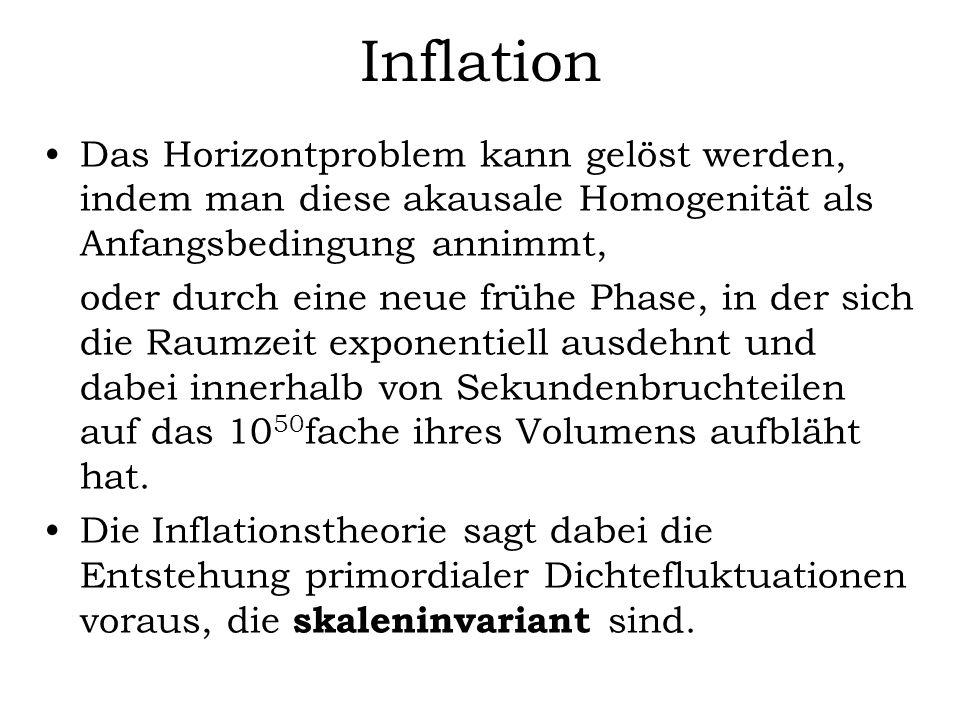 Inflation Das Horizontproblem kann gelöst werden, indem man diese akausale Homogenität als Anfangsbedingung annimmt,