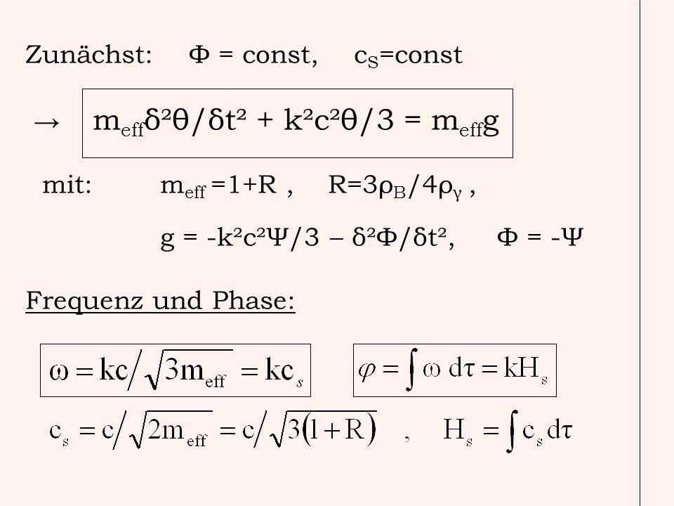 Zunächst: Φ = const, cS=const