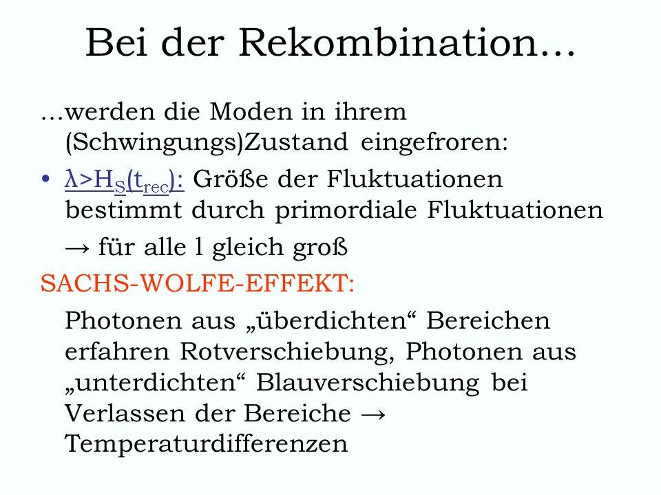 Bei der Rekombination... ...werden die Moden in ihrem (Schwingungs)Zustand eingefroren: