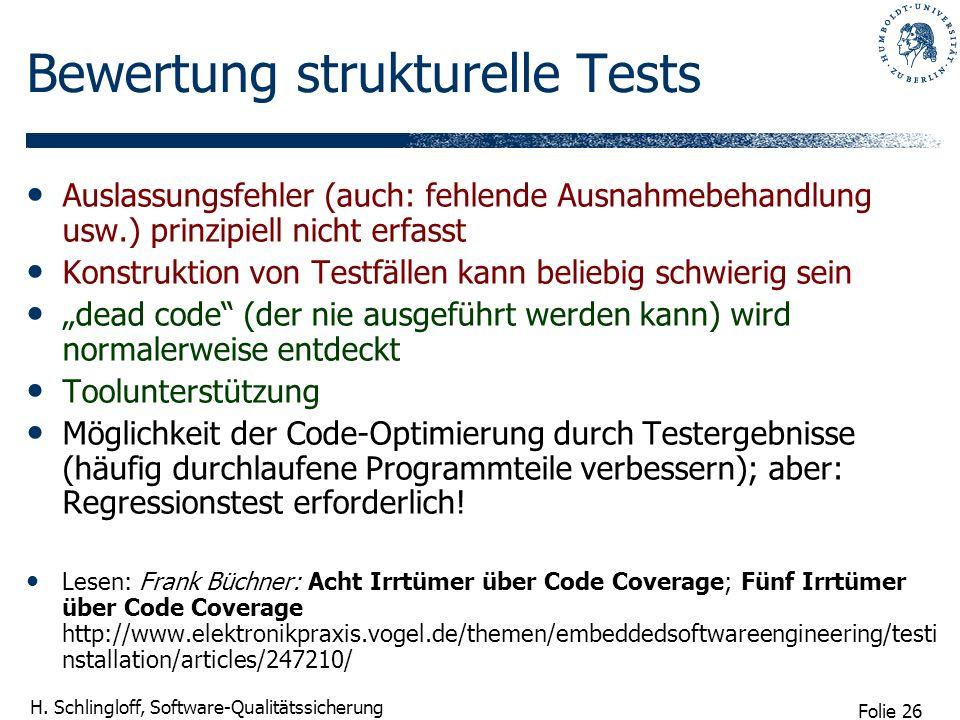 Bewertung strukturelle Tests