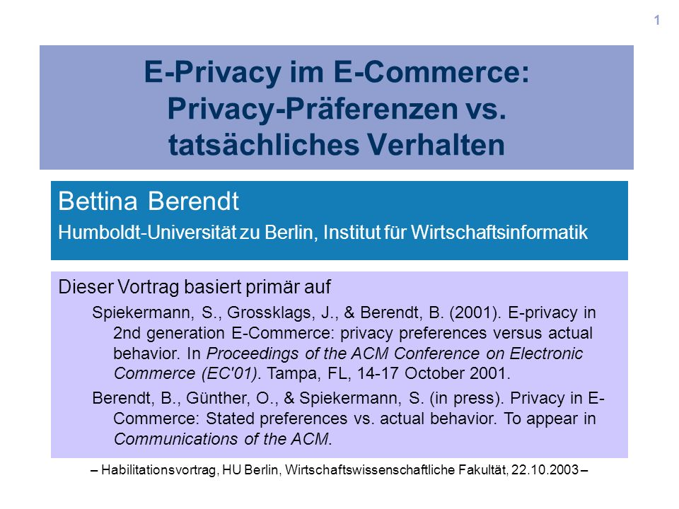 E-Privacy im E-Commerce: Privacy-Präferenzen vs