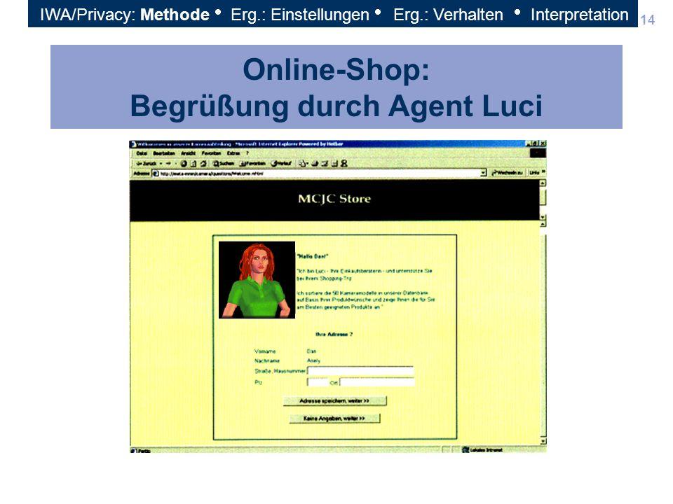 Online-Shop: Begrüßung durch Agent Luci