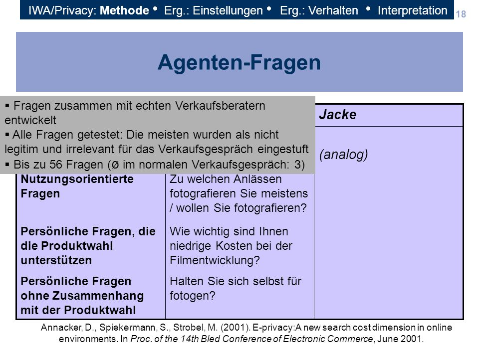 Agenten-Fragen (analog) Jacke Kamera Fragen-Typen
