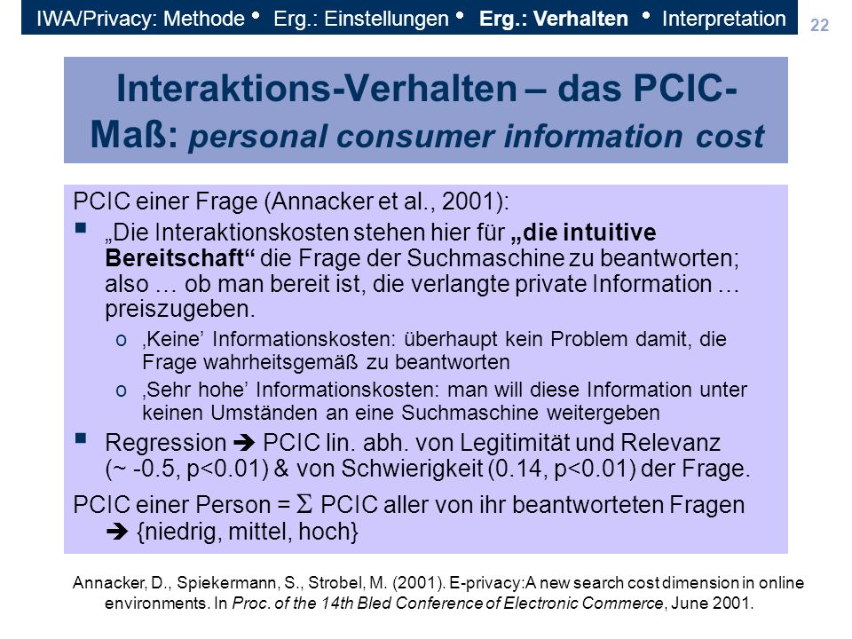 IWA/Privacy: Methode Erg. : Einstellungen Erg