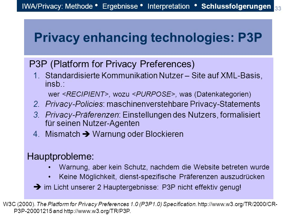 Privacy enhancing technologies: P3P