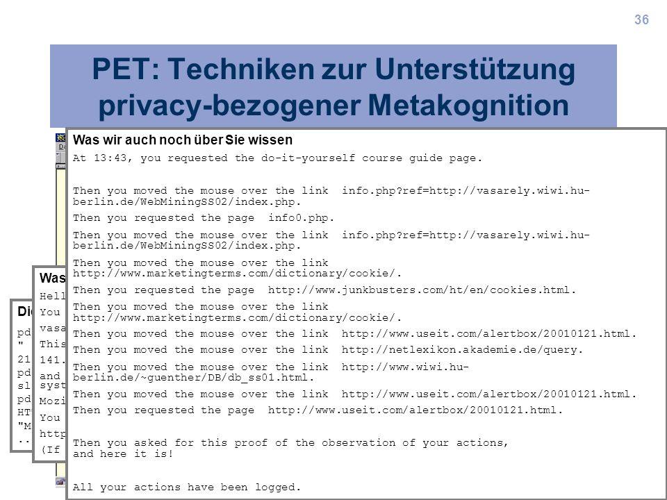 PET: Techniken zur Unterstützung privacy-bezogener Metakognition