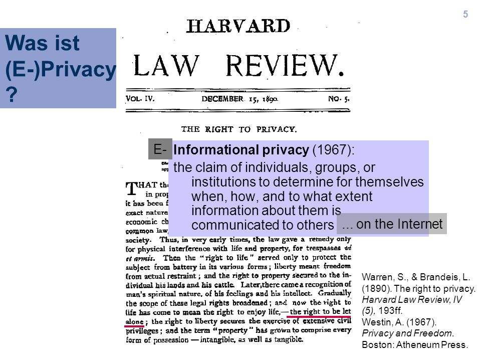 Was ist (E-)Privacy E- Informational privacy (1967):