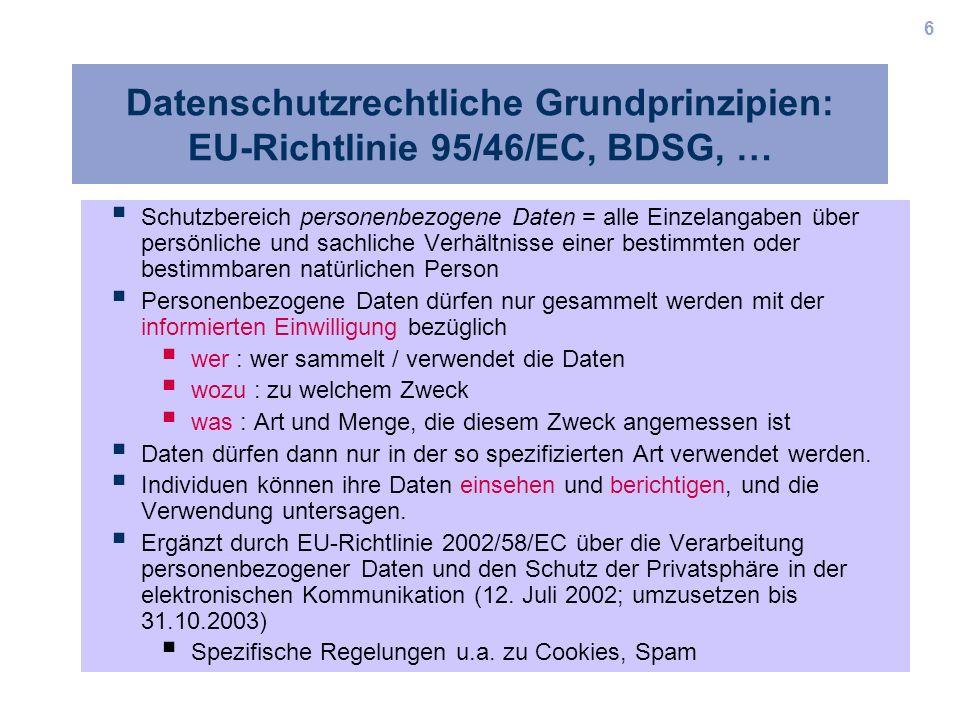Datenschutzrechtliche Grundprinzipien: EU-Richtlinie 95/46/EC, BDSG, …