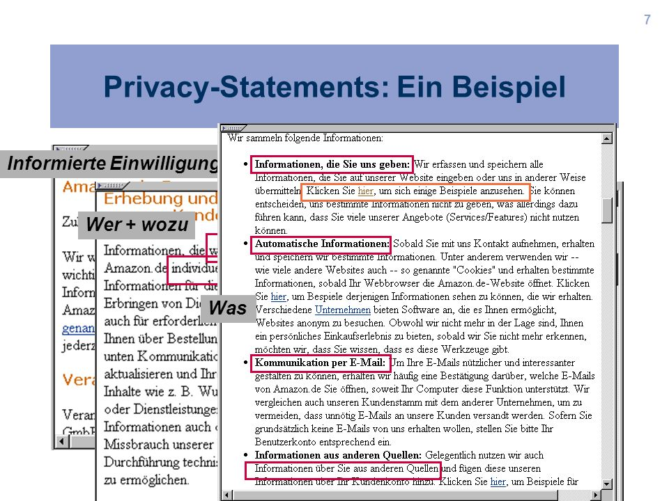 Privacy-Statements: Ein Beispiel