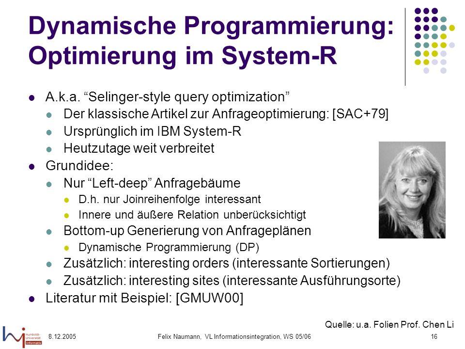 Dynamische Programmierung: Optimierung im System-R