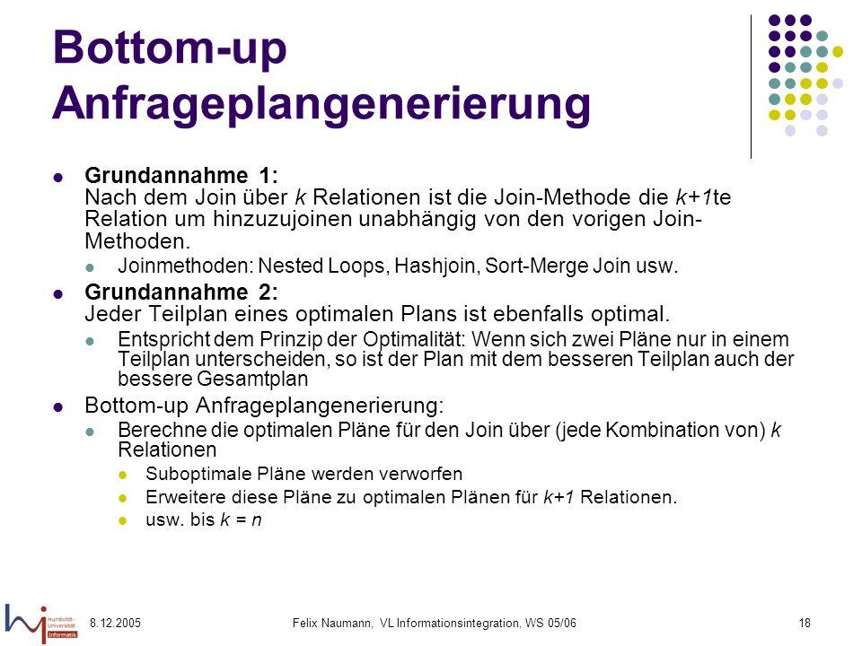 Bottom-up Anfrageplangenerierung