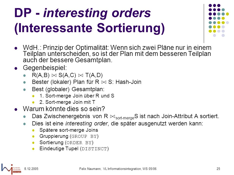 DP - interesting orders (Interessante Sortierung)