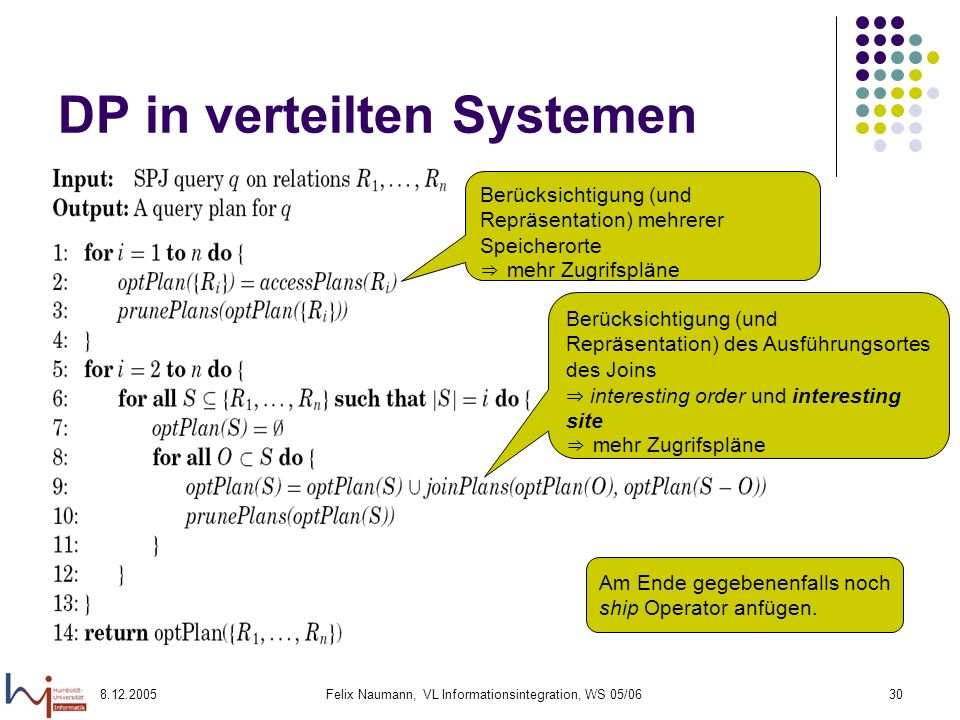 DP in verteilten Systemen