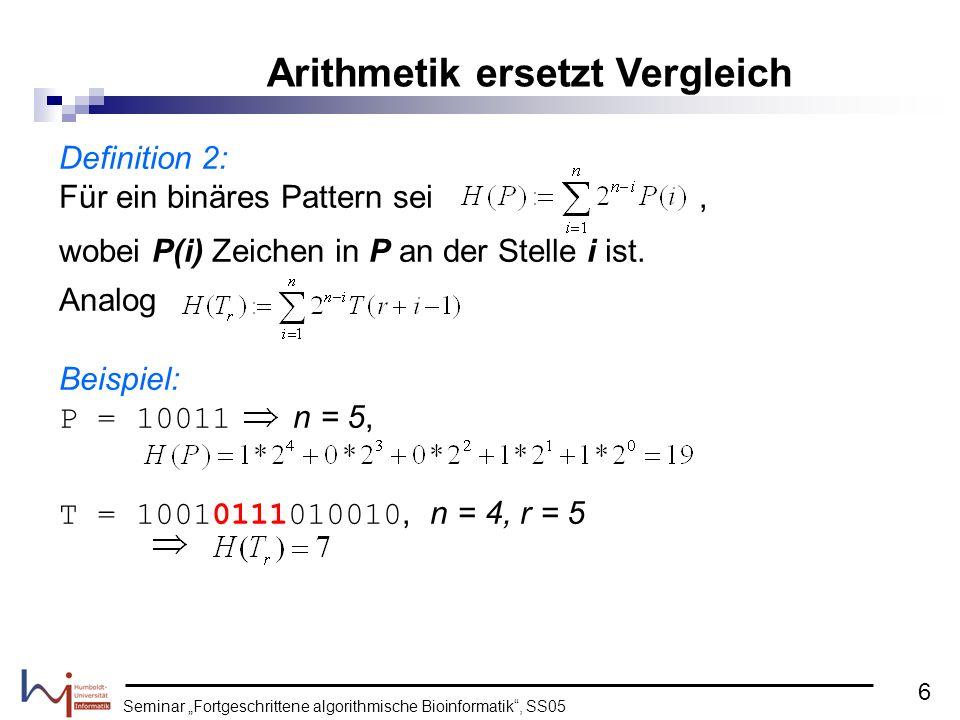 Arithmetik ersetzt Vergleich