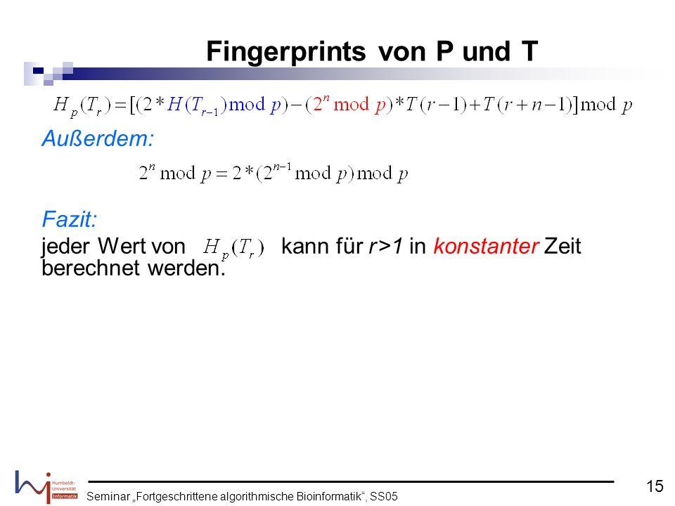 Fingerprints von P und T