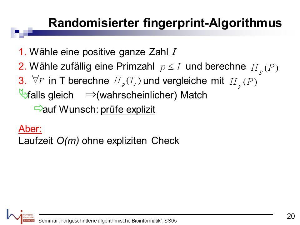 Randomisierter fingerprint-Algorithmus