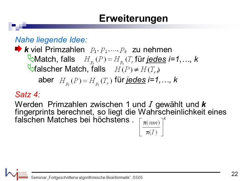 """Seminar """"Fortgeschrittene algorithmische Bioinformatik , SS05"""