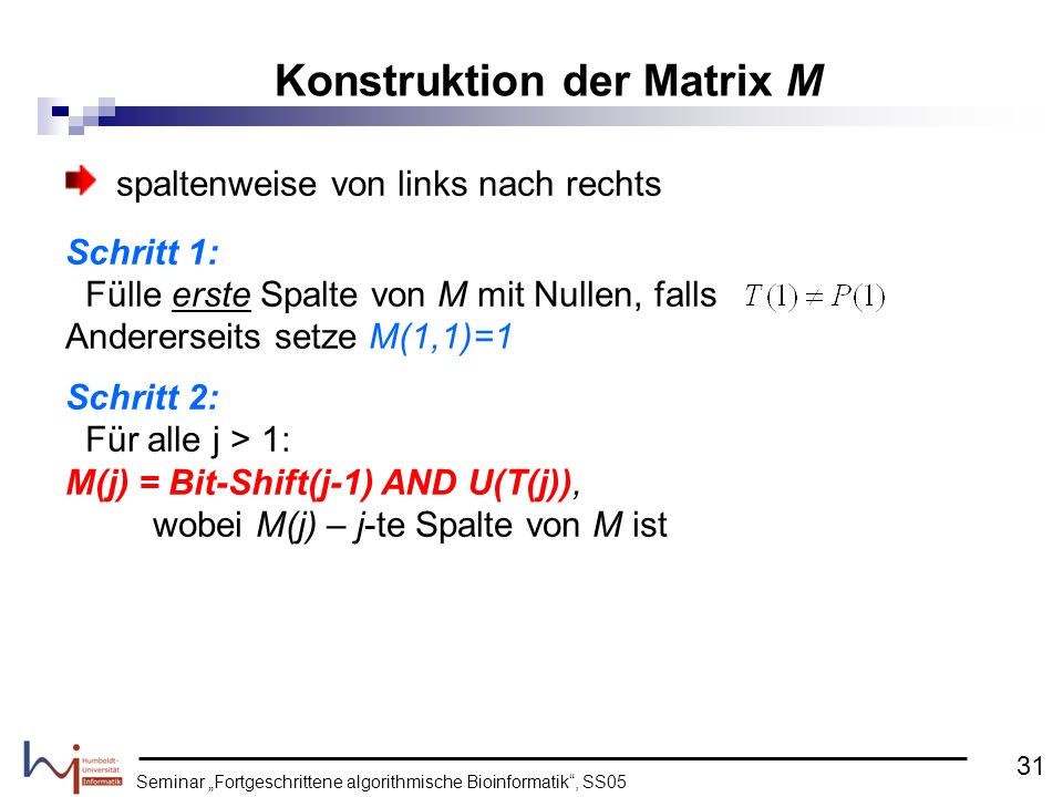 Konstruktion der Matrix M