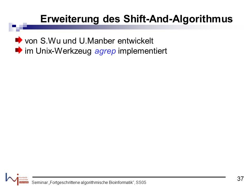 von S.Wu und U.Manber entwickelt im Unix-Werkzeug agrep implementiert