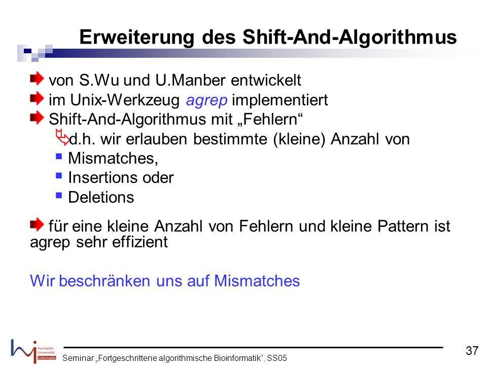 Erweiterung des Shift-And-Algorithmus