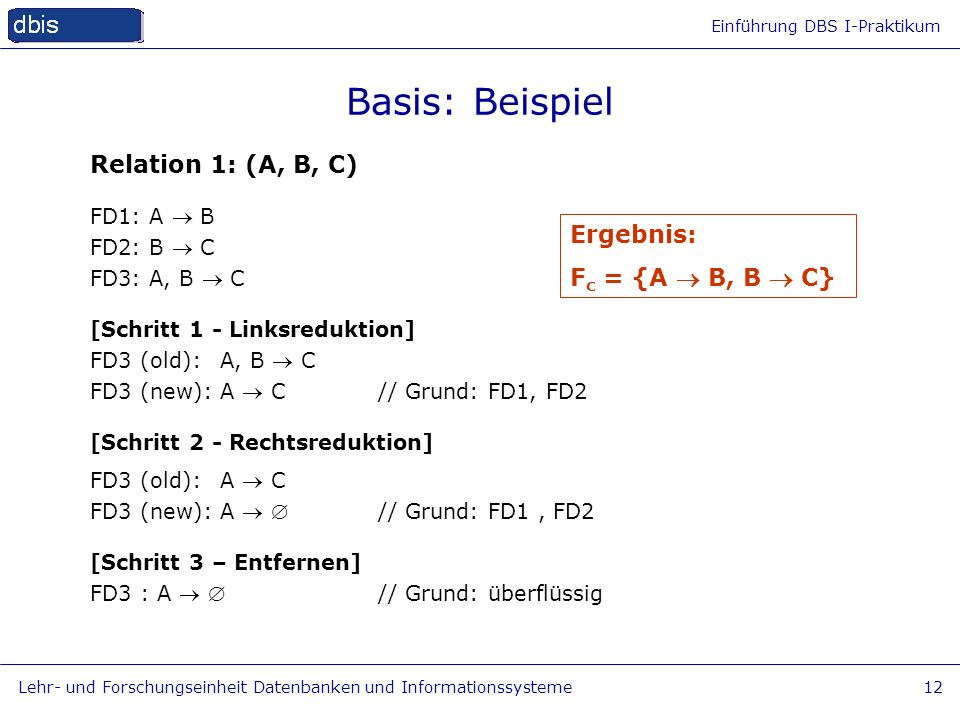 Basis: Beispiel Relation 1: (A, B, C) Ergebnis: Fc = {A  B, B  C}