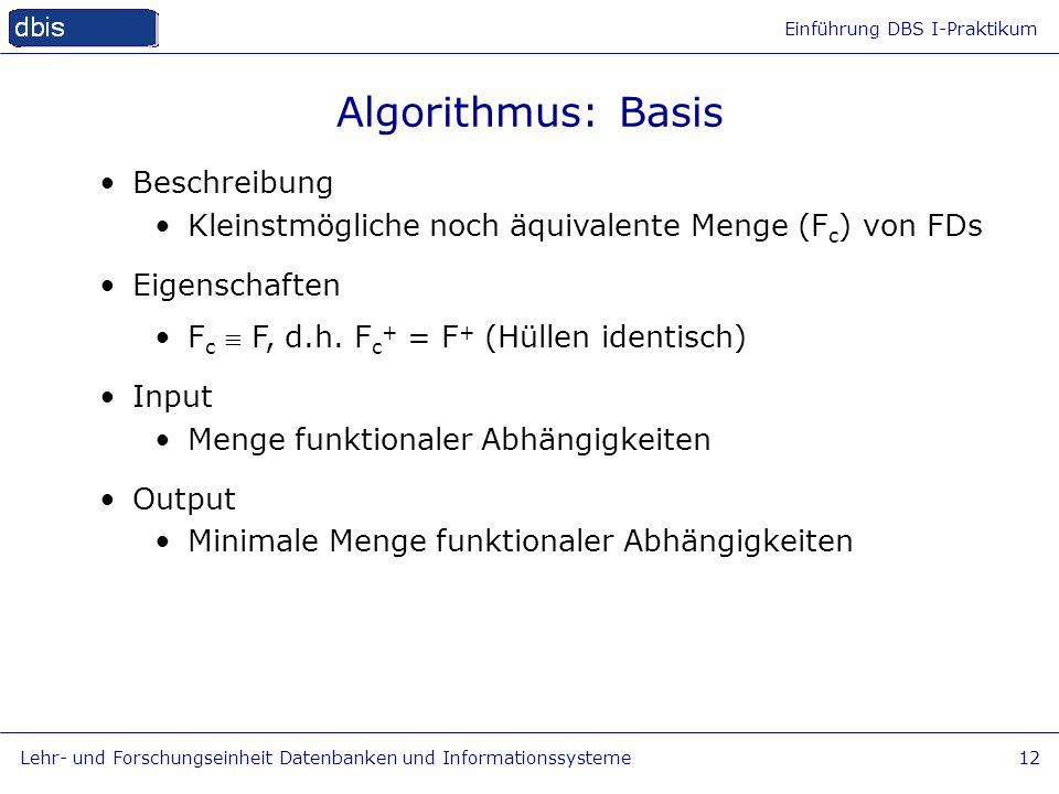 Algorithmus: Basis Beschreibung