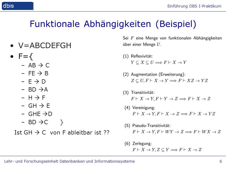 Funktionale Abhängigkeiten (Beispiel)