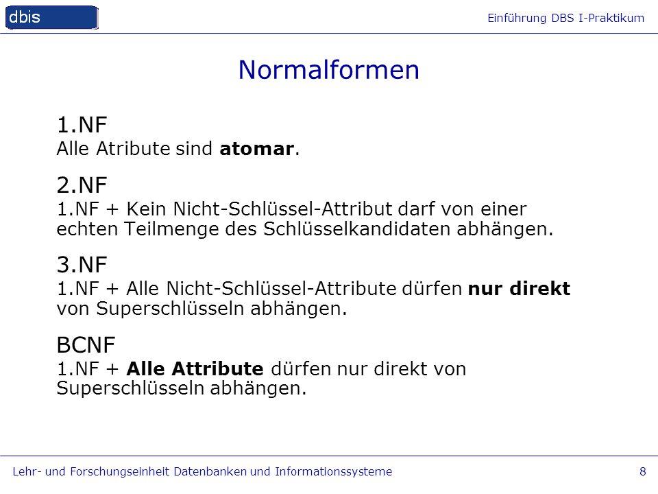 Normalformen 1.NF 2.NF 3.NF BCNF Alle Atribute sind atomar.