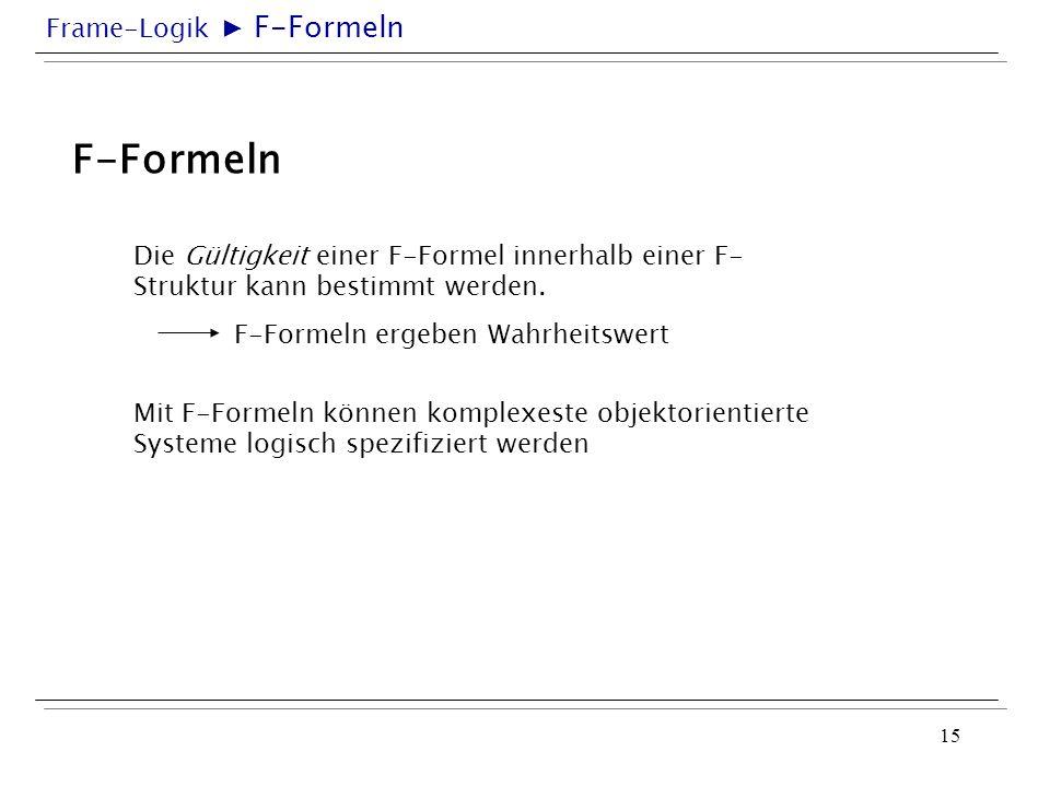 ▶ F-Formeln F-Formeln. Die Gültigkeit einer F-Formel innerhalb einer F-Struktur kann bestimmt werden.