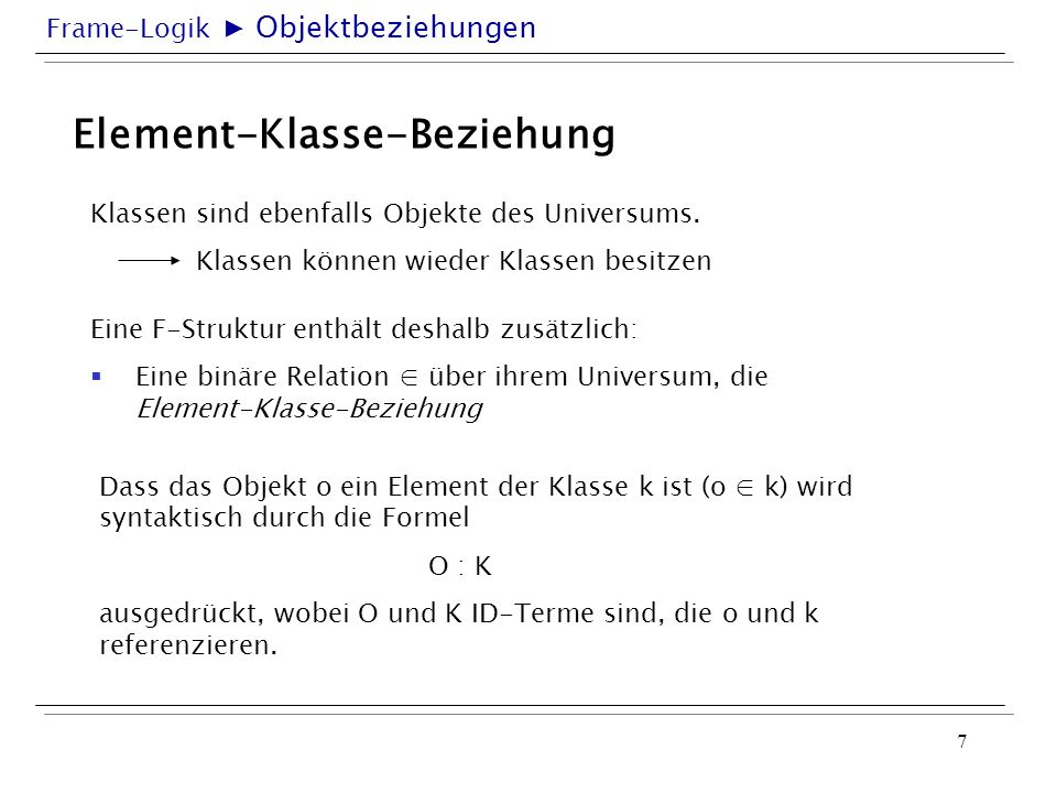 Element-Klasse-Beziehung